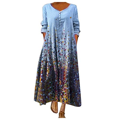 XUEBing Vestido largo de manga larga para mujer, estilo vintage, bohemio, con cuello en O, vestido de ajuste y acampanado