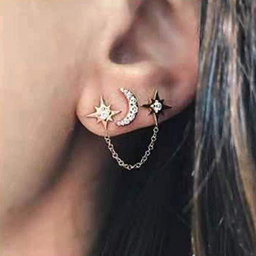 TseenYi Pendientes de estrella bohemia con cadena colgante de oro y diseño de estrella celestial, para mujeres y niñas (oro)