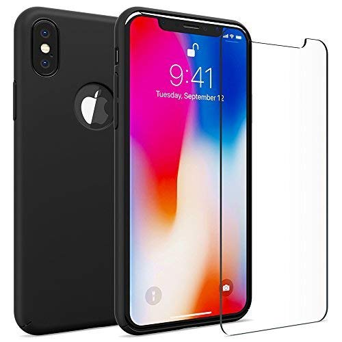 FlexGear Case for iPhone X 360 Slim Hard Case w Soft Touch Coating and Glass Screen Protector, Designed for iPhone X (Matte Black)