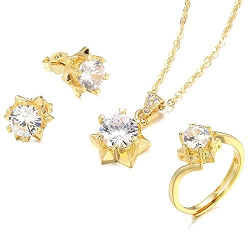 YUANBOO Fashion Natural Zircon 18k Gold Bridal Weddal Joyas Conjuntos Anillo Estrella Collar Pendiente Mujer Joyería Fina Regalo de Cristal (Gem Color : White, Ring Size : Resizable)