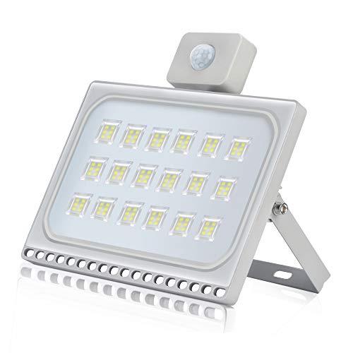 Faretto LED con Sensore di Movimento 100W Faro LED Esterno IP65 Impermeabile 10000LM 6500K Bianca Fredda Faretto Esterno per giardino,Garage,Parcheggio, cortile[Classe di efficienza energetica A+]