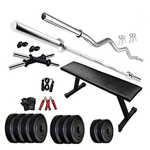 TUFFSTUFF Home Gym 30 kg PVC Weight Combo Set with Included Flat Bench, dumbles Set for Home...