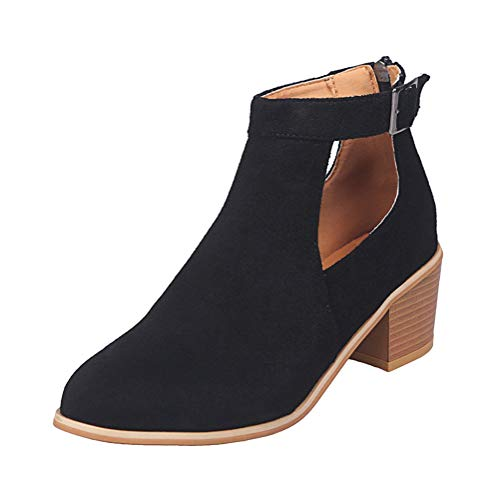 Minetom Damen Kurze Stiefelette mit 4 cm Absatz,Casual Hohl Stiefeletten Boots Stiefel Slip-On und einem tollen PU-Leder in Vintageoptik,gr 35-43 Größe Schwarz 40 EU