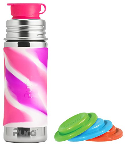 New Pura Sport Stainless Steel 11 Ounce Bottle - Pink Swirl - Plus Set of 3 Sealing Disks