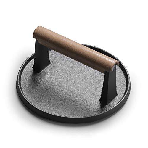 7-pollici Bacone Press con manico in legno, Ghisa rotonda Griglia per barbecue, Burger Presser Patty Press, non patinata Grill Press,Nero