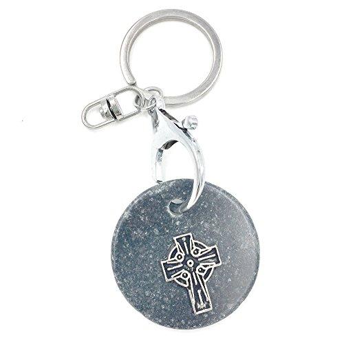 Mullingar Kilkenny Marble Irish Keychain with Celtic Cross