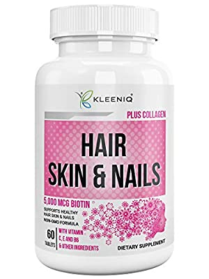 KLEENIQ ® with Biotin 5000 mcg and Hydrolyzed Collagen - Hair Skin and Nails Vitamins supplement For Women and Men- Non-GMO Formula– Plus Calcium and Multivitamins