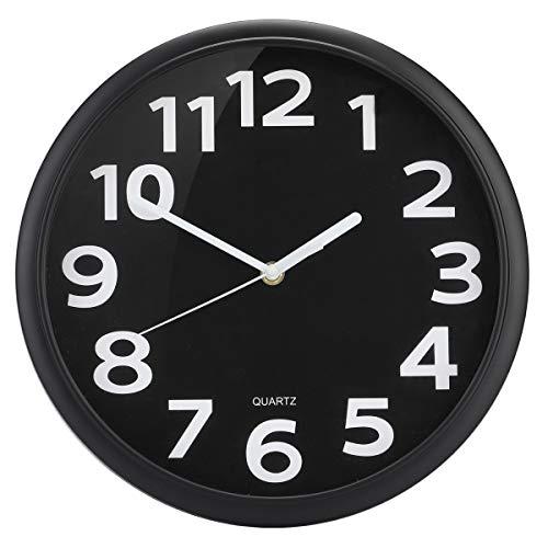TOHOOYO Wanduhr Nicht tickende Stille Quarz Dekorative Uhren, Moderner Stil Gut für Wohnküche Wohnzimmer Schlafzimmer Büro Große 3D-Nummer Anzeige batteriebetrieben Schwarz