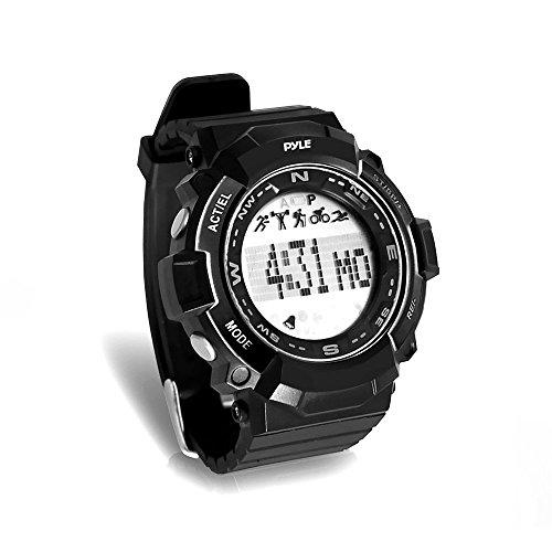 Pyle Sports psptr19–Fitness Tracker Armbanduhr mit Countdown Timer und Chronograph Stoppuhr–Schrittzähler zählt Schritte und Kalorien–Erbaut im Schlaf Monitoring Funktion, schwarz