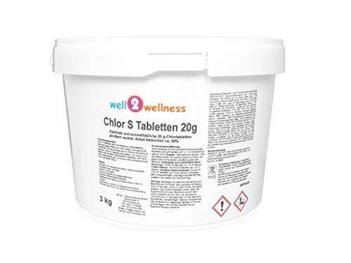 well2wellness Chlor S Tabletten - schnell lösliche Chlortabletten 20g / Chlortabs 20g, 3,0 kg