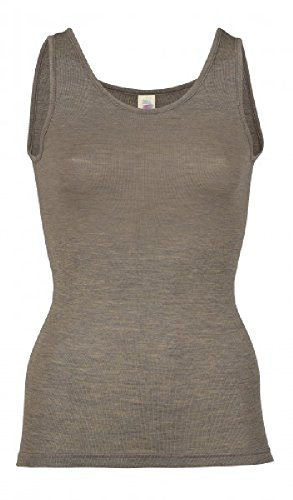 Damen Trägerhemd, Wolle Seide, Gr. 34 - 48, 3 Farben (38/40, Walnuss)