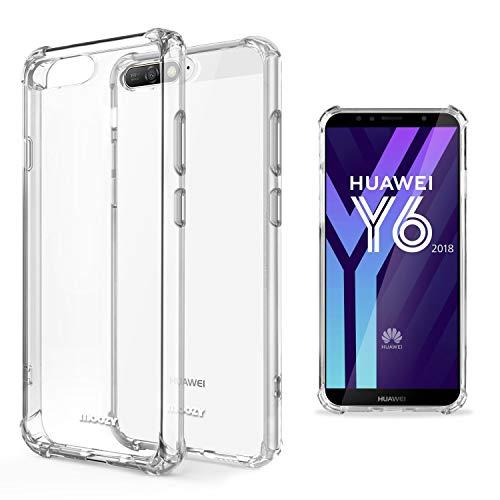 Moozy Funda Silicona Antigolpes para Huawei Y6 2018 - Transparente Crystal Clear TPU Case Cover Flexible