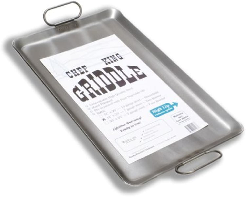 Chef King 7 Gauge Steel Griddle, 14 Inch x 23 Inch