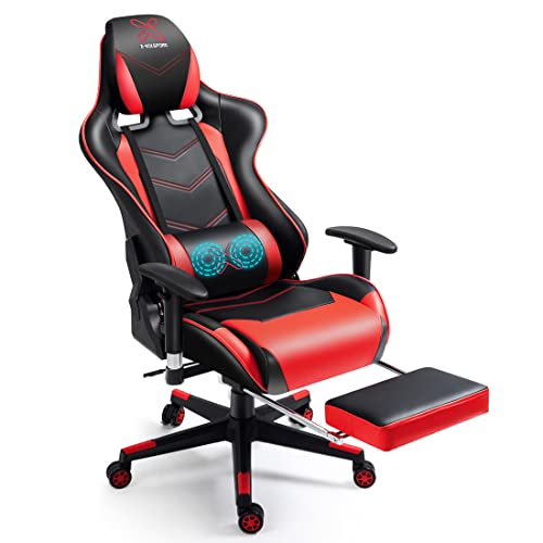 X-VOLSPORT Massage Gaming Chair with Footrest Reclining High Back Computer Game Chair with Lumbar Support and Headrest, Racing Style Video Gamer Chair Red