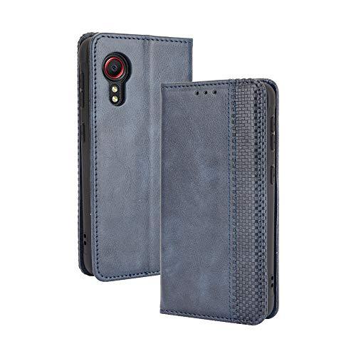 GOGME Leder Hülle für Samsung Galaxy Xcover 5 Hülle, Premium PU/TPU Leder Folio Hülle Schutzhülle Handyhülle, Flip Hülle Klapphülle Lederhülle mit Standfunktion und Kartensteckplätzen, Blau