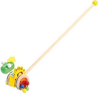 Bino & Mertens 81671 Bino glidande draghjul dinosaurier träleksak glidande lekhjul i dino-design leksak för barn från 2 år...