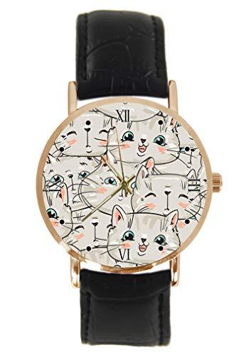 Reloj de Pulsera con diseño de Gatos y Gatitos, clásico, Unisex, analógico, de Cuarzo, Caja de Acero Inoxidable, Correa de Cuero