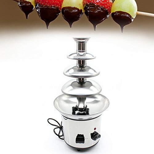 Fuente de chocolate de 4 pisos, acero inoxidable, fuente de chocolate, fondue de chocolate, fondue de chocolate para frutas y pasteles, bandeja de recogida profunda de 170 W