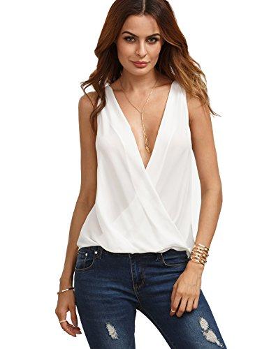 Verdusa Women's Deep V Neck Cut Out Back Sleeveless Blouse Tank Top White Large