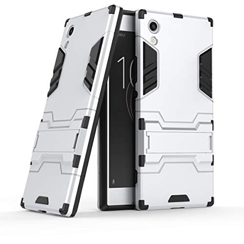 Designed For Sony Xperia XA1 Case Heavy Duty Hybrid Dual Layer Ultra Thin Shockproof Cover (Silver)