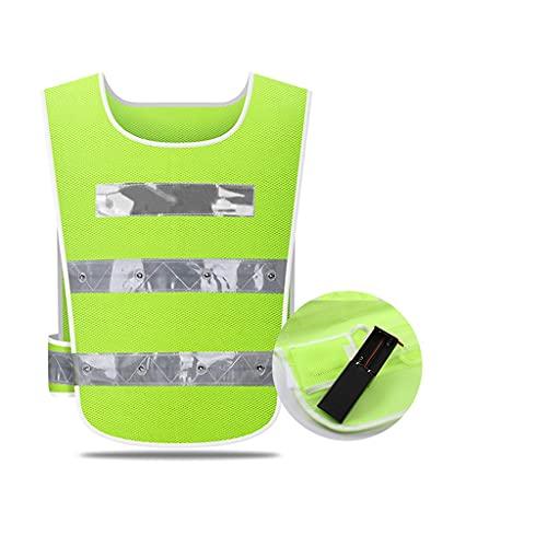 swq Ropa Reflectante, Chaleco de Seguridad cómodo Transpirable de Malla, Ropa resaltada LED, protección de 360 °, Ropa de Trabajo Unisex (Color : Green Battery, tamaño : 3 Packs)