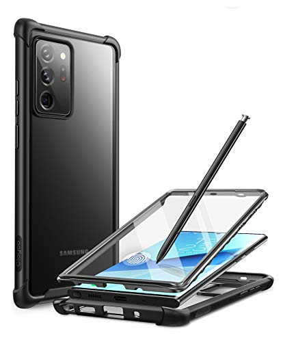 Clayco Forza Series Case for Samsung Galaxy Note 20 Ultra, Built-in Screen Protector Compatible with Fingerprint ID, Full-Body Rugged Cover Case, 6.9 inch, 2020 Release (Black)