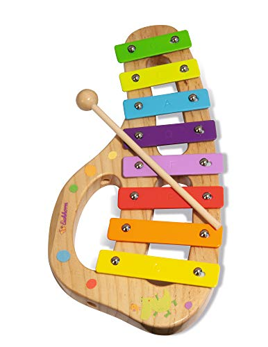 Eichhorn 100003482 Musik xylophon aus Holz Bunte Tonleiter mit 8 Tönen, inkl. 1 Klöppel und Liederbuch mit fünf Liedern zum nachspielen, 3 teilig, 30 x 15 cm groß, ab Zwei Jahren