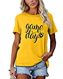 Game Day T Shirts Women Football Graphic Tee Funny Cute Competition Tshirt Casual Short Sleeve Tee Tops Yellow