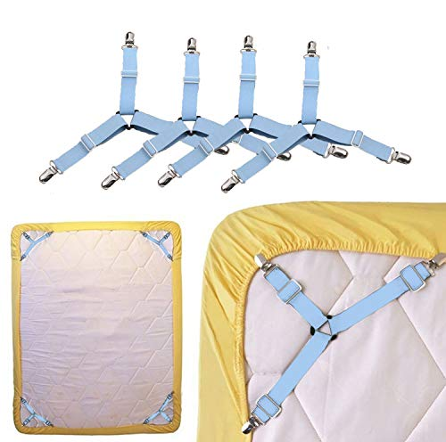 TGOOD 4 PCS Bed Sheet Holder Straps,3 Way Adjustable Sheet Band Clips Fasteners Suspenders,Triangle Elastic Mattress Sheet Holder Grippers to Keeping Sheets in Place.(Suitable for Full Size Bed)