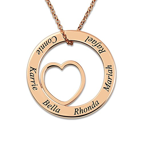 Stɑy Real Customized Engraved Silver Love Circle Necklace Personalized Family Name Necklace Heart Pendant Necklace (18K Rose Gold 20'(50cm))
