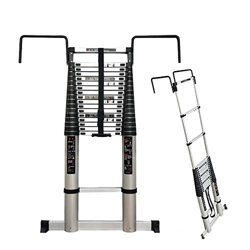 Telescoping Ladder with 30cm Hooks, 17ft/20ft/23ft/26ft Tall Engineering Ladders for Garden Roof Building Use, Aluminium (Size : 8m/26ft)