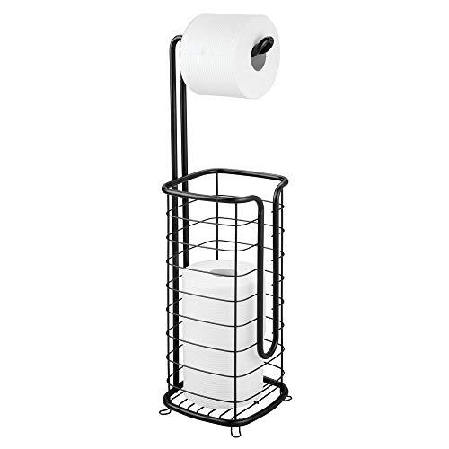 mDesign Toilettenpapierhalter ohne Bohren – freistehender Klorollenhalter fürs Badezimmer – rostbeständiger Papierrollenhalter für vier Rollen – schwarz