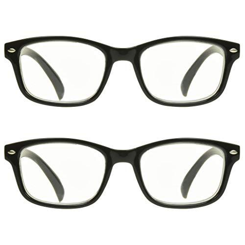 proSPORT Óculos multifocais + 2,50 combo 2 armação preta, 3 ampliações em 1 lente aro retrô sem linha com pino unissex