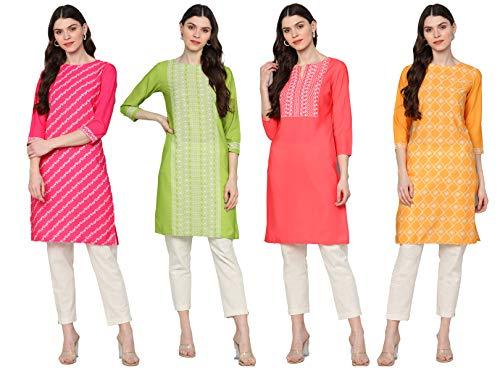 Vaamsi Women's Printed Polyester Straight Kurta Combo (Pack of 4)...