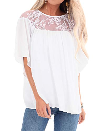 ZXZY Half Sleeve Blouse for Women Bell Sleeve Crew Neck Lace Insert Pleated Tops White