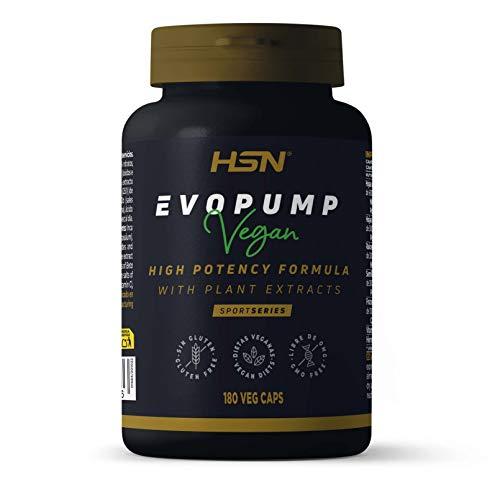Evopump de HSN | Pre Entreno sin Cafeína ni Creatina | Pre-entreno Ultra Concentrado | Pre Workout Óxido Nítrico | Vegano, Sin Gluten, Sin Lactosa | 180 Veg Caps