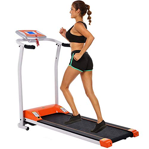 Folding Treadmill Electric Motorized Power Walking Jogging Running Exercise Fitness Machine Trainer Equipment for Home Gym Office Space Saver Easy Assembly (1.5 HP - Dark Orange) Treadmills