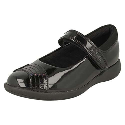 Clarks Etch Beam Kid Patent Shoes in Black Patent Wide Fit Size 1½