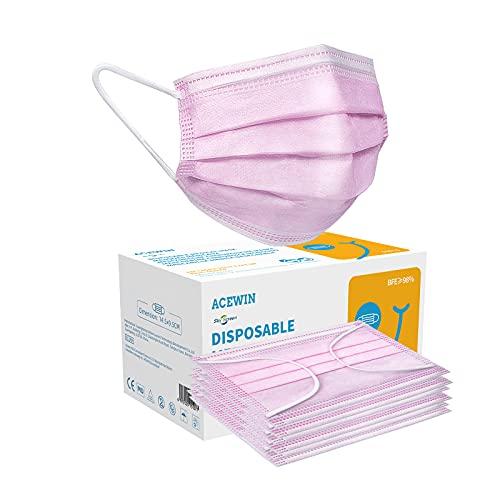 Acewin TYP IIR 3 Lagig Einwegmasken Kinder CE Zertifizierte 50 Stück Mund Nasen Maske Mädchen Kindermasken,BFE 98% Rosa