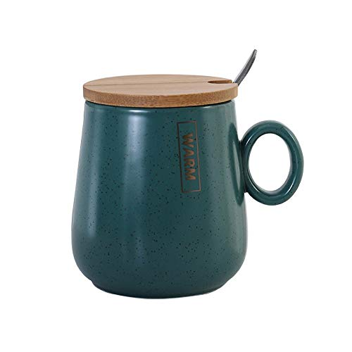 YZUEYT スプーン北欧タトゥとカバーマグカップと星と創造セラミックカップの完全なダークグリーンの空 YZUEYT (Color : Natural, Size : 350ML)