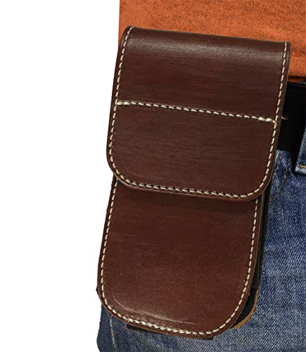 Universal Vertical All American Leather Phone Holster|Leather Belt Clip Holster| Galaxy 6, 7, 8| iPhone 6, 6s, 7 Plus| Leather Phone Holder| Genuine Leather Cellphone Holder| Case Cover Holster|