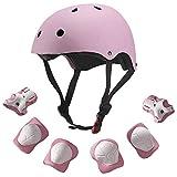 DealMux - Juego de protectores de casco para monopatín para niños, el mejor casco protector de muñeca con rodilleras y coderas para patinaje, bicicleta, ciclismo, equitación, patineta, scooter