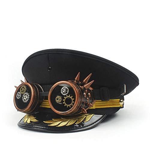 HBR Sombrero para Hombre Steampunk Burner, Sombrero Hecho a Mano del Capitán...
