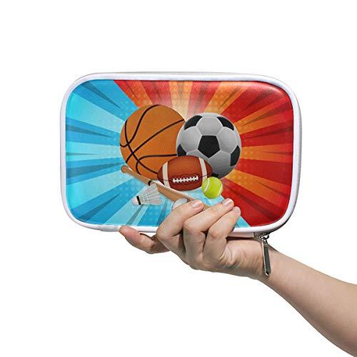 Linomo - Estuche multifuncional para lápices, baloncesto, fútbol, tenis, rugby, bádminton, béisbol, cremallera, piel, portabolígrafos, bolsa de maquillaje, bolsa de maquillaje para niñas, adolescentes, niños