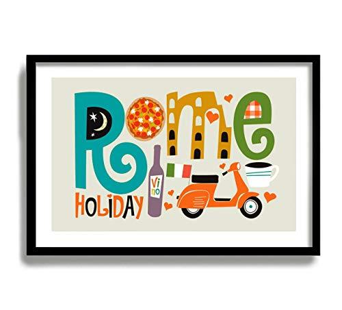 Rom-Druck, modernes Wandbild, Kolosseum, italienisches Dekor, Vespa-Roller, Reise-Poster, Weinflasche, Espresso Tasse, Rom Italien