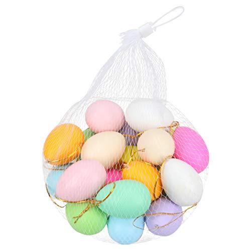 EXCEART 40 Piezas de Plástico Colorido Huevos de Pascua Pintados Huevos Artificiales Pintados DIY Creativo Huevo de Pascua para Niños Jardín de Infantes Niños Juguete Educativo Temprano