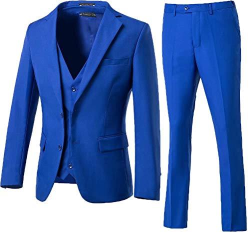 High-End Suits 3 Pieces Men Suit Set Slim Fit Groomsmen/Prom Suit for Men Two Buttons Business Casual Suit, Royal Blue, Chest42''/Waist36''