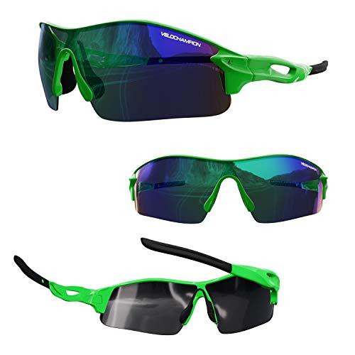 VeloChampion Warp Radfahren Laufen Sport-Sonnenbrille (mit 3 Glasern: inkl. revo grun, gelb, klar) Fluoro Grun-Rahmen