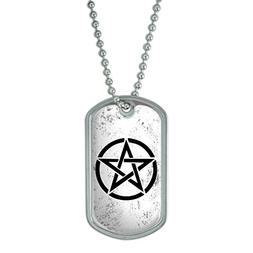 Graphics and More Pentagram - Wicca Witch - Military Dog Tag Luggage Keychain