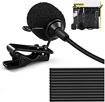 Clip On Microphone WindBox 19 Feet Single Head Omnidirectional Lavalier Lapel Shirt Microphone for Video Recording Cell Phone Mic for iPhone Android Smartphone Camera YouTube Interview Studio